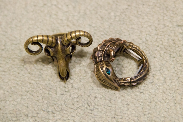 Animal Skull Ring and Alligator Animal Ring
